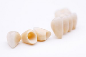 Macro of prosthetic teeth